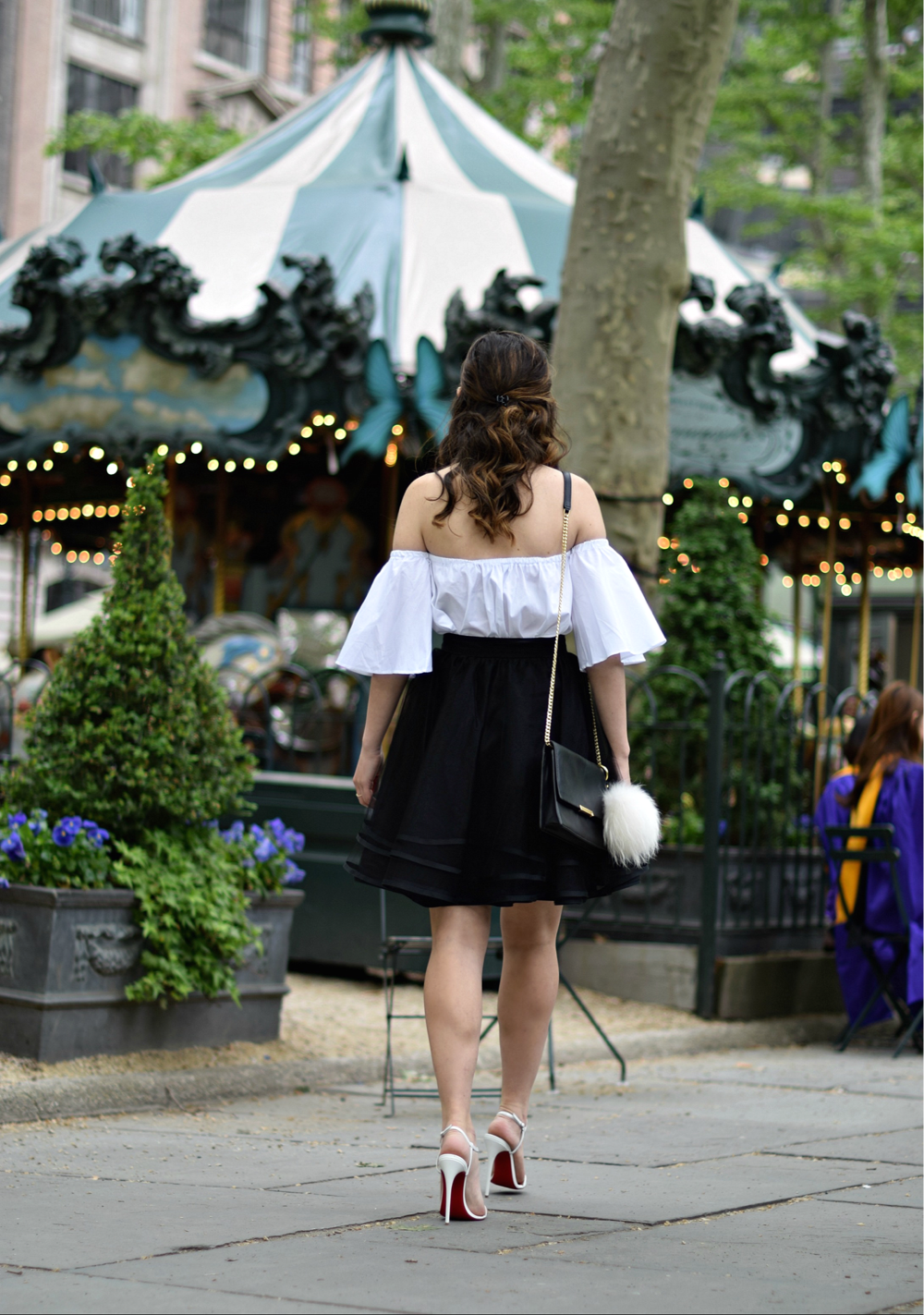 Naomy Stern Couture Custom Tulle Skirt White Heart Louboutins & Love Fashion Blog Esther Santer NYC Street Style Blogger Christian Louboutin Outfit OOTD Elegant Model Photoshoot Cold Shoulder Top Fancy Ivanka Trump Bag Purse Pom Pom Girl Pretty Choker.PNG