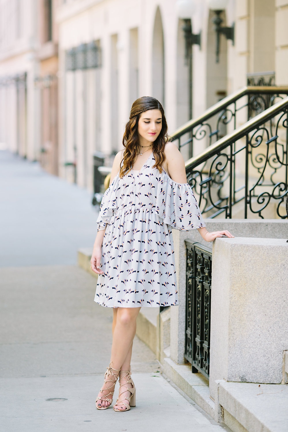 Cold Shoulder Robbie Dress :: Rebecca Minkoff Louboutins & Love Fashion Blog Esther Santer NYC Street Style Blogger Outfit OOTD Bloomingdale's Ivanka Trump Lace-Up Heels Shoes Nordstrom Photoshoot Necklaces Shopping Jewelry Model Pretty Girly Feminine.jpg