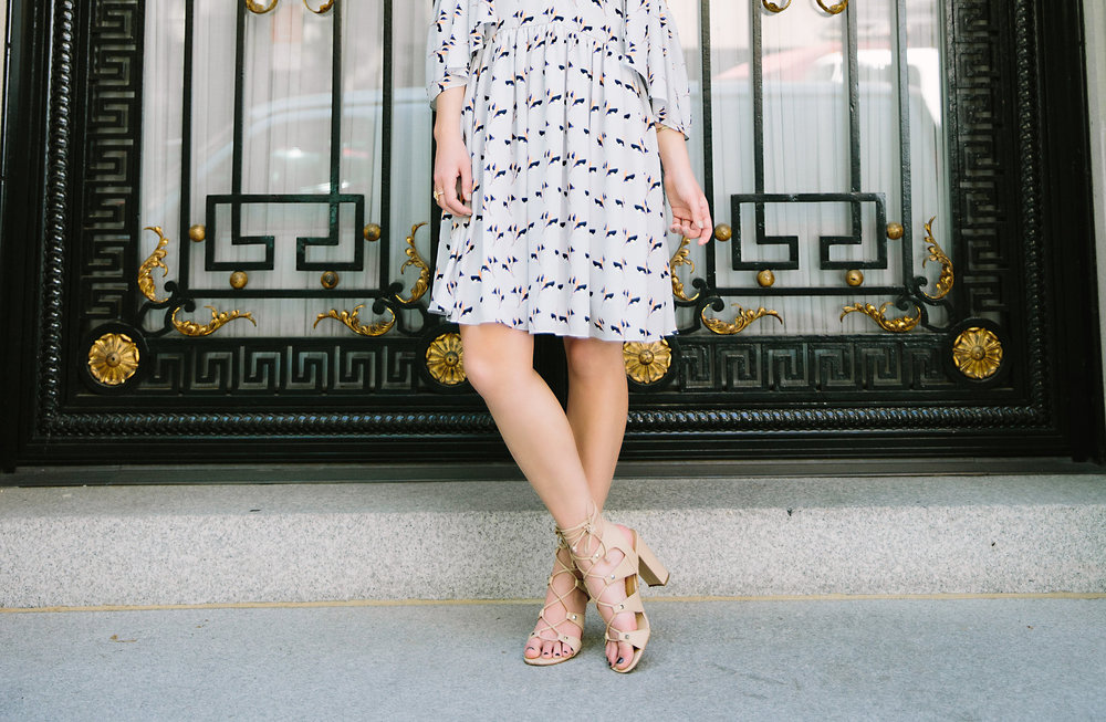 Cold Shoulder Robbie Dress :: Rebecca Minkoff Louboutins & Love Fashion Blog Esther Santer NYC Street Style Blogger Outfit OOTD Photoshoot Bloomingdale's Ivanka Trump Lace-Up Heels Shoes Nordstrom Shopping Jewelry Necklaces Pretty Girly Feminine Model.jpg