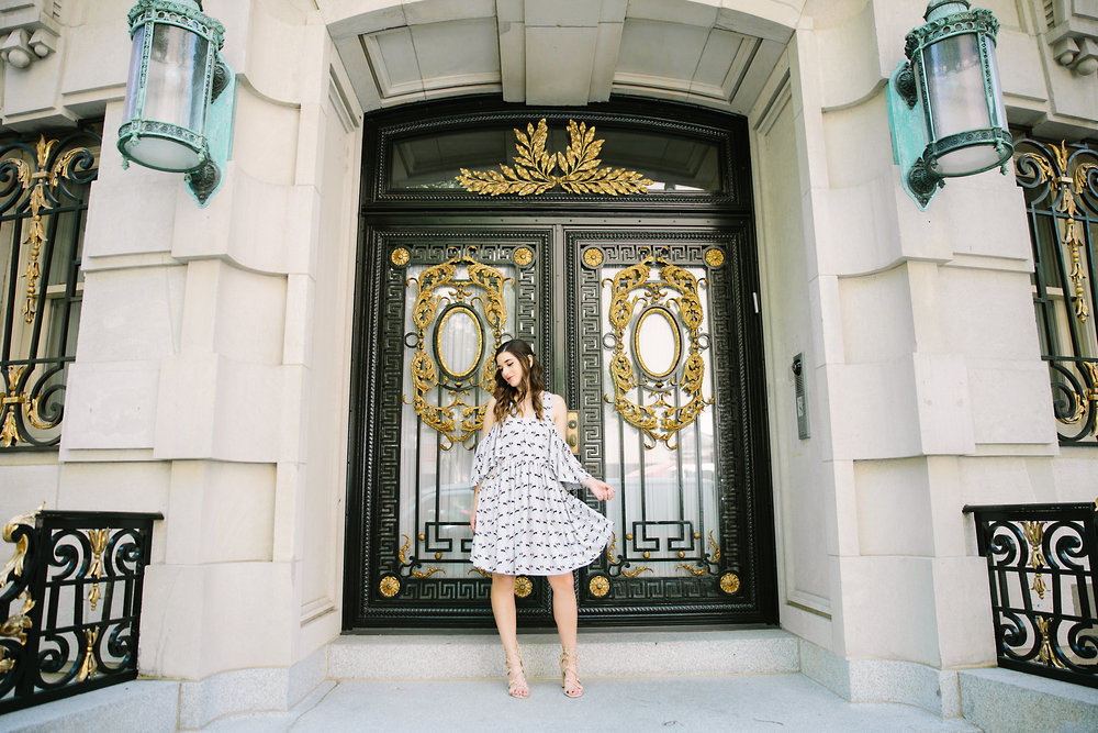 Cold Shoulder Robbie Dress :: Rebecca Minkoff Louboutins & Love Fashion Blog Esther Santer NYC Street Style Blogger Outfit OOTD Photoshoot Bloomingdale's Ivanka Trump Lace-Up Heels Shoes Nordstrom Shopping Necklaces Jewelry Model Pretty Girly Feminine.jpg