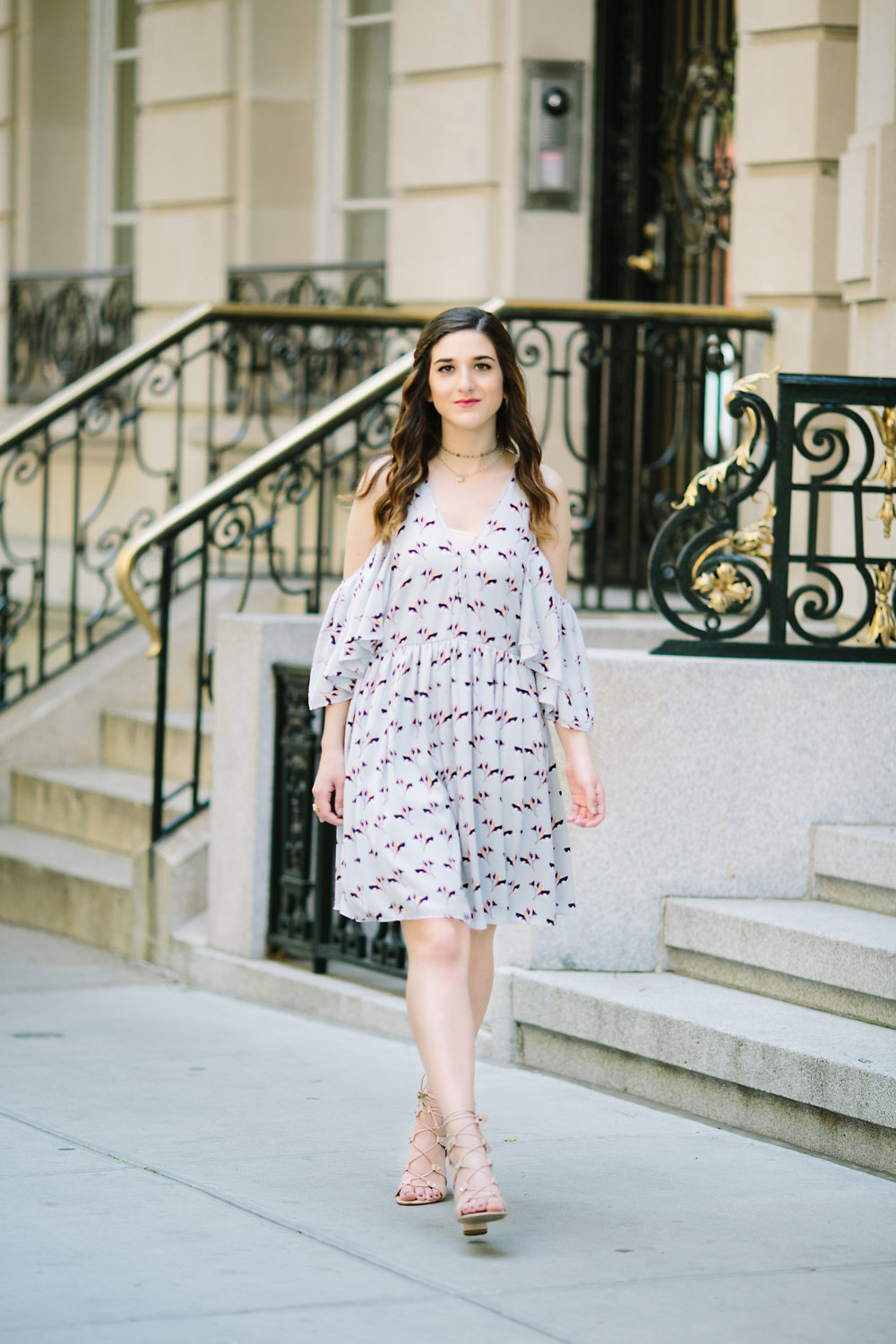Cold Shoulder Robbie Dress :: Rebecca Minkoff Louboutins & Love Fashion Blog Esther Santer NYC Street Style Blogger Outfit OOTD Bloomingdale's Ivanka Trump Lace-Up Heels Shoes Nordstrom Photoshoot Jewelry Necklaces Model Shopping Pretty Feminine Girly.jpg