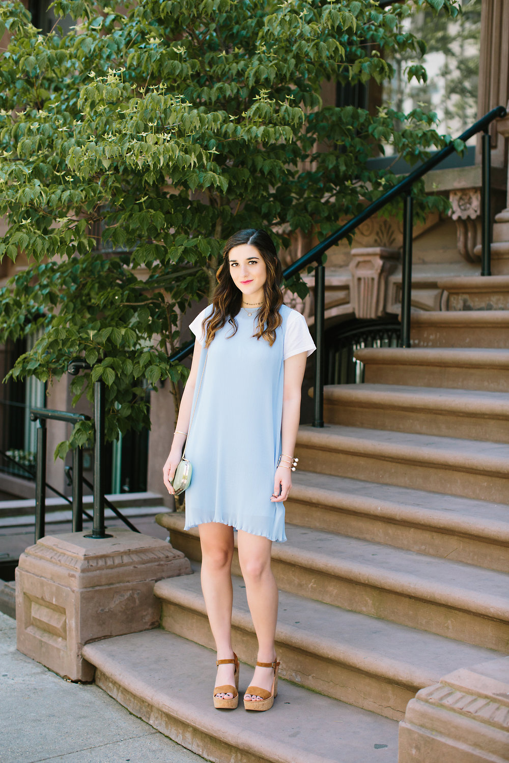 Pastel Blue Pleated Dress Keepsake The Label Louboutins & Love Fashion Blog Esther Santer NYC Street Style Blogger Outfit OOTD Pretty Photoshoot Upper East Side Dolce Vita Wedges Club Monaco Clutch Gold Jewelry Women White Tee Shirt Inspo Summer Look.jpg