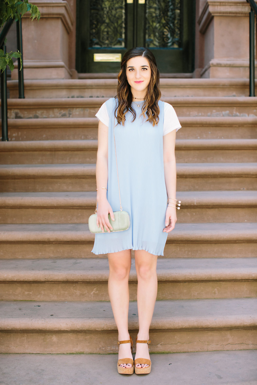 Pastel Blue Pleated Dress Keepsake The Label Louboutins & Love Fashion Blog Esther Santer NYC Street Style Blogger Outfit OOTD Pretty Photoshoot Upper East Side Dolce Vita Wedges Clutch Club Monaco Gold Jewelry Women White Tee Shirt Inspo Summer Look.jpg