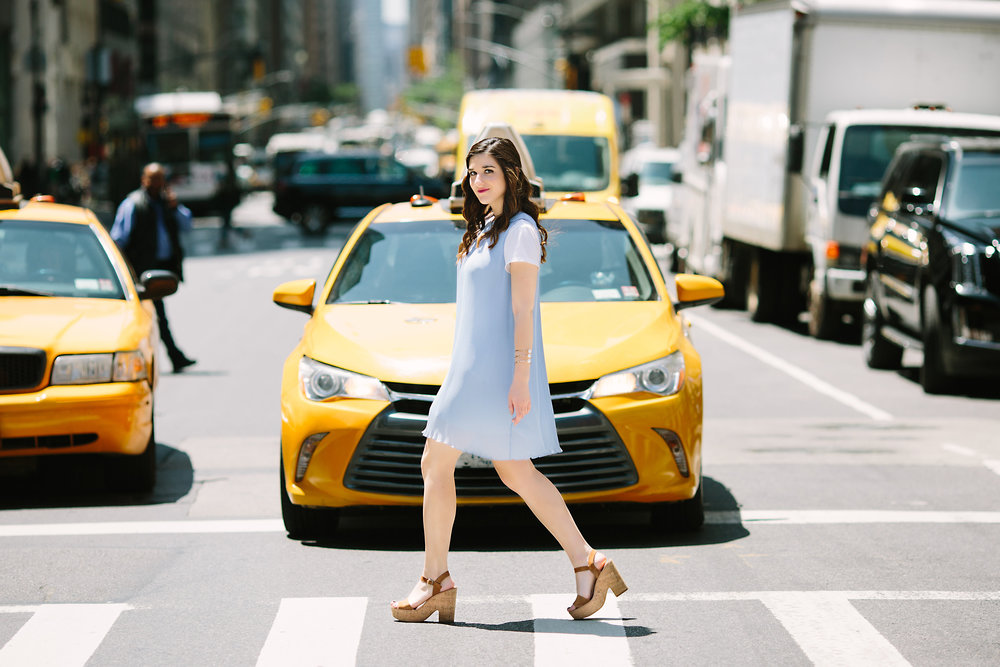 Pastel Blue Pleated Dress Keepsake The Label Louboutins & Love Fashion Blog Esther Santer NYC Street Style Blogger Outfit OOTD Pretty Photoshoot Upper East Side Dolce Vita Wedges Clutch Club Monaco Gold Jewelry Women White Tee Shirt Summer Look Inspo.jpg