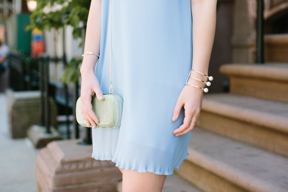 Pastel Blue Pleated Dress Keepsake The Label Louboutins & Love Fashion Blog Esther Santer NYC Street Style Blogger Outfit OOTD Pretty Photoshoot Upper East Side Dolce Vita Wedges Gold Jewelry Club Monaco Clutch White Tee Shirt Women Inspo Summer Look.jpg