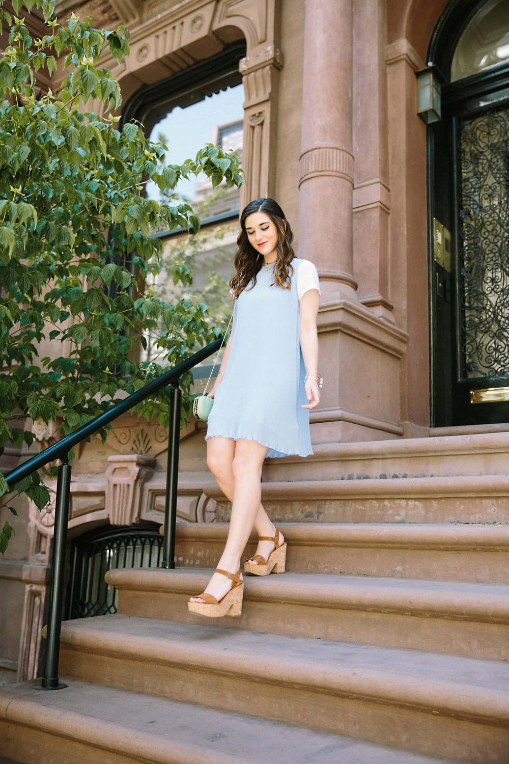 Pastel Blue Pleated Dress Keepsake The Label Louboutins & Love Fashion Blog Esther Santer NYC Street Style Blogger Outfit OOTD Pretty Photoshoot Upper East Side Dolce Vita Wedges Gold Jewelry Club Monaco Clutch White Tee Shirt Inspo Women Summer Look.jpg