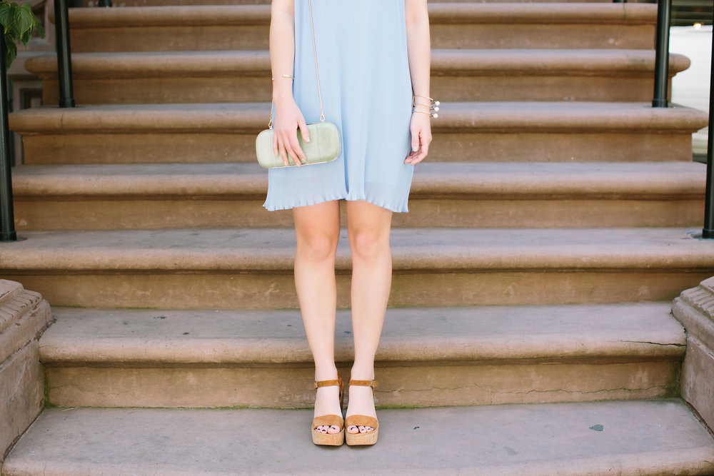 Pastel Blue Pleated Dress Keepsake The Label Louboutins & Love Fashion Blog Esther Santer NYC Street Style Blogger Outfit OOTD Pretty Photoshoot Upper East Side Dolce Vita Wedges Gold Jewelry Clutch Club Monaco Women White Tee Shirt Inspo Summer Look.jpg