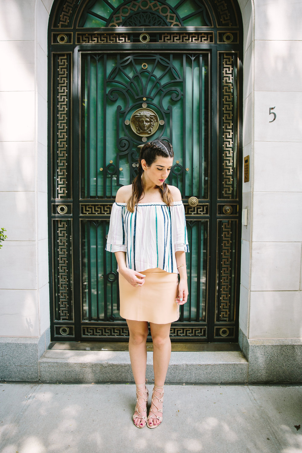 Striped Off-The-Shoulder Shoulder Top Shop Trescool Louboutins & Love Fashion Blog Esther Santer NYC Street Style Blogger Outfit OOTD Mini Skirt Pastel Pink Trendy Ivanka Trump Nude Lace Up Heels Gold Ring Boxer Braid Hairstyle Inspo Summer Photoshoot.jpg