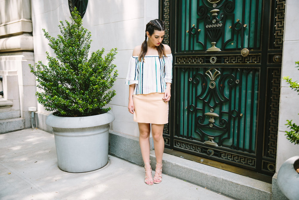 Striped Off-The-Shoulder Shoulder Top Shop Trescool Louboutins & Love Fashion Blog Esther Santer NYC Street Style Blogger Outfit OOTD Mini Skirt Pastel Pink Trendy Ivanka Trump Nude Lace Up Heels Gold Ring Boxer Braid Hairstyle Summer Inspo Photoshoot.jpg