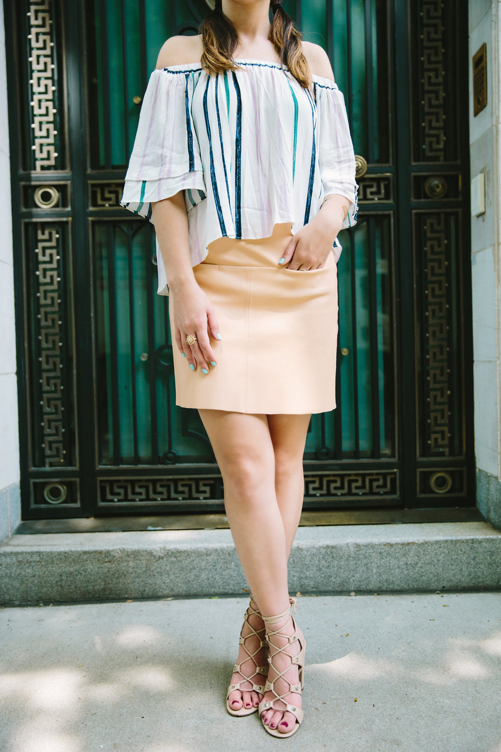 Striped Off-The-Shoulder Shoulder Top Shop Trescool Louboutins & Love Fashion Blog Esther Santer NYC Street Style Blogger Outfit OOTD Mini Skirt Pastel Pink Trendy Ivanka Trump Nude Lace Up Heels Gold Ring Hairstyle Boxer Braid Inspo Summer Photoshoot.jpg