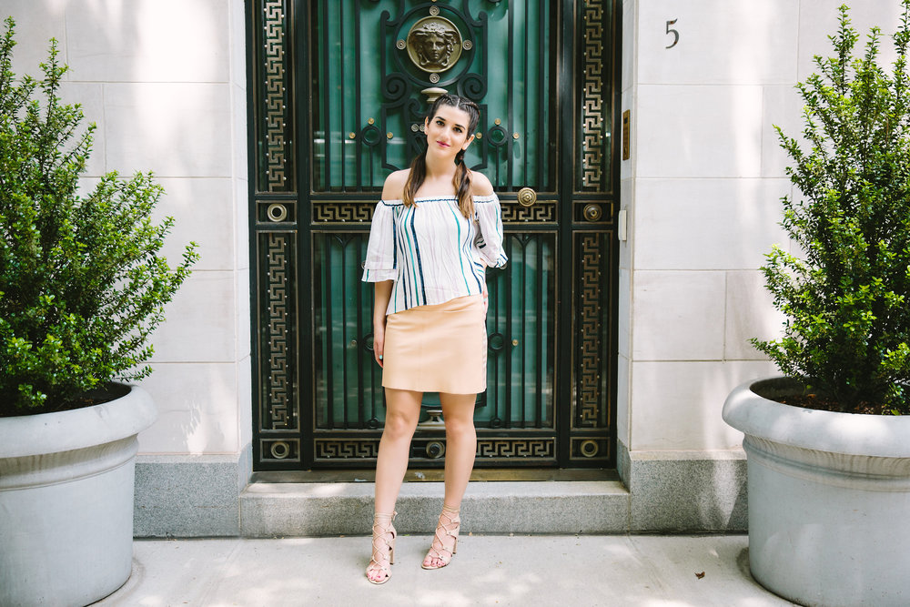 Striped Off-The-Shoulder Shoulder Top Shop Trescool Louboutins & Love Fashion Blog Esther Santer NYC Street Style Blogger Outfit OOTD Mini Skirt Pastel Pink Trendy Ivanka Trump Nude Lace Up Heels Gold Ring Hairstyle Boxer Braid Photoshoot Inspo Summer.jpg