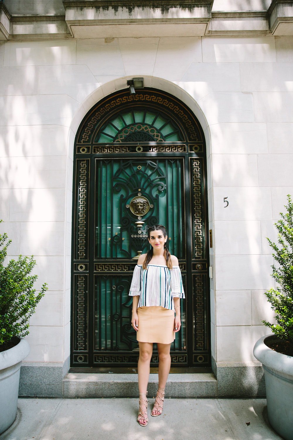 Striped Off-The-Shoulder Shoulder Top Shop Trescool Louboutins & Love Fashion Blog Esther Santer NYC Street Style Blogger Outfit OOTD Mini Skirt Pastel Pink Trendy Ivanka Trump Nude Lace Up Heels Gold Ring Hairstyle Boxer Braid Summer Inspo Photoshoot.jpg