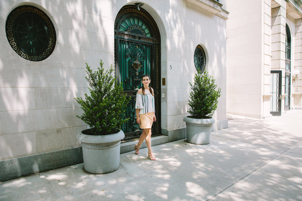 Striped Off-The-Shoulder Shoulder Top Shop Trescool Louboutins & Love Fashion Blog Esther Santer NYC Street Style Blogger Outfit OOTD Mini Skirt Pastel Pink Trendy Nude Lace Up Heels Ivanka Trump Gold Ring Boxer Braid Hairstyle Photoshoot Summer Inspo.jpg