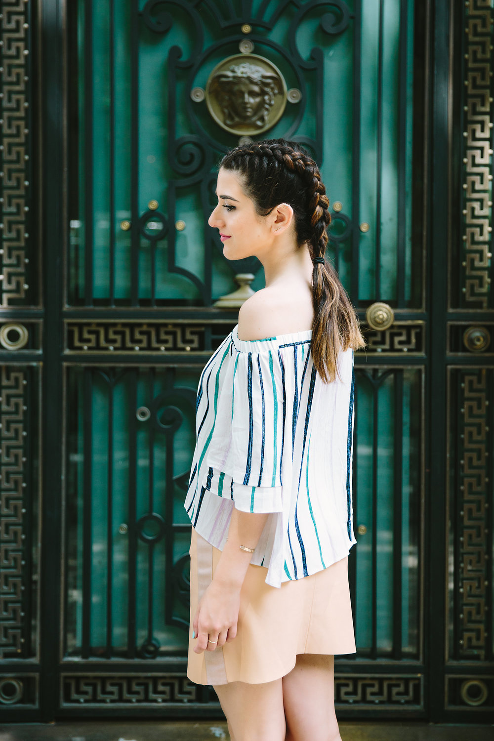Striped Off-The-Shoulder Shoulder Top Shop Trescool Louboutins & Love Fashion Blog Esther Santer NYC Street Style Blogger Outfit OOTD Mini Skirt Pastel Pink Trendy Nude Lace Up Heels Ivanka Trump Gold Ring Hairstyle Boxer Braid Inspo Summer Photoshoot.jpg