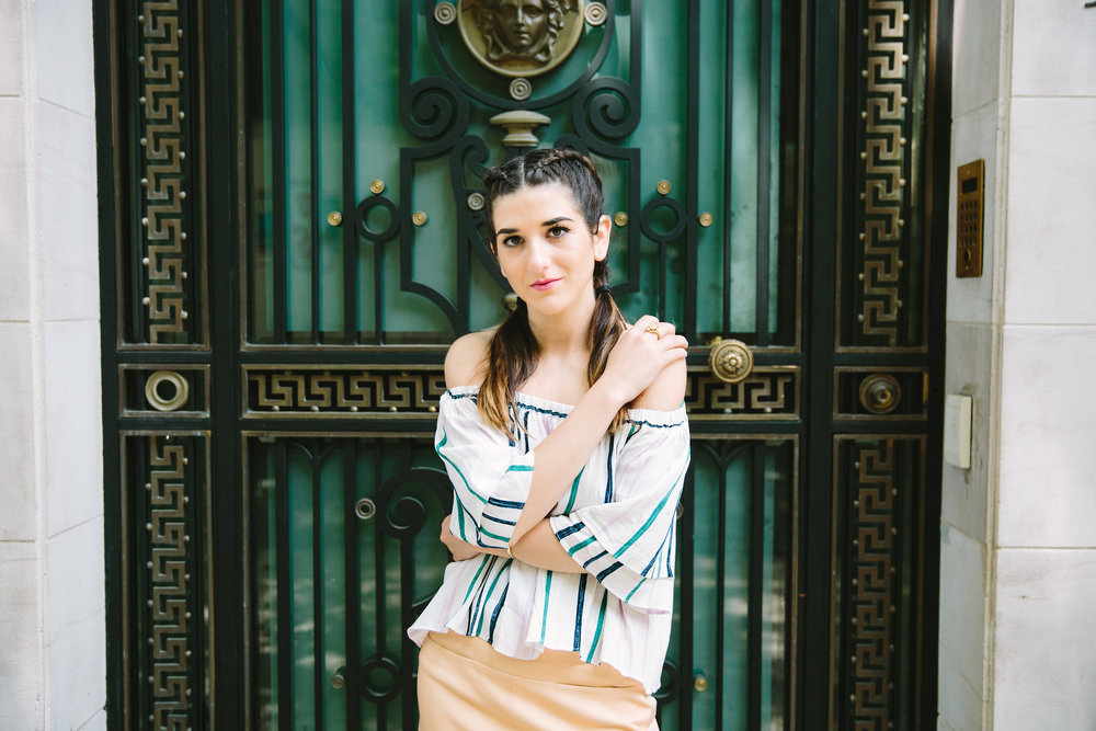 Striped Off-The-Shoulder Shoulder Top Shop Trescool Louboutins & Love Fashion Blog Esther Santer NYC Street Style Blogger Outfit OOTD Mini Skirt Pastel Pink Trendy Nude Lace Up Heels Ivanka Trump Gold Ring Hairstyle Boxer Braid Photoshoot Summer Inspo.jpg