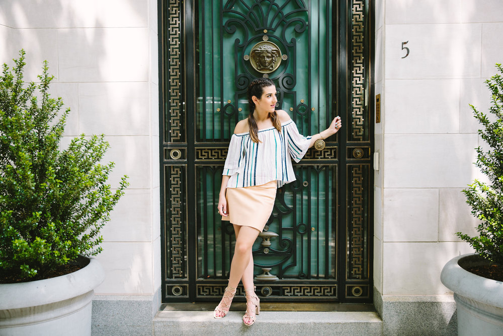 Striped Off-The-Shoulder Shoulder Top Shop Trescool Louboutins & Love Fashion Blog Esther Santer NYC Street Style Blogger Outfit OOTD Mini Skirt Pastel Pink Trendy Nude Lace Up Heels Ivanka Trump Gold Ring Hairstyle Boxer Braid Photoshoot Inspo Summer.jpg