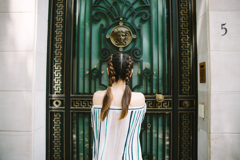 Striped Off-The-Shoulder Shoulder Top Shop Trescool Louboutins & Love Fashion Blog Esther Santer NYC Street Style Blogger Outfit OOTD Mini Skirt Pastel Pink Trendy Nude Lace Up Heels Ivanka Trump Gold Ring Hairstyle Boxer Braid Summer Inspo Photoshoot.jpg
