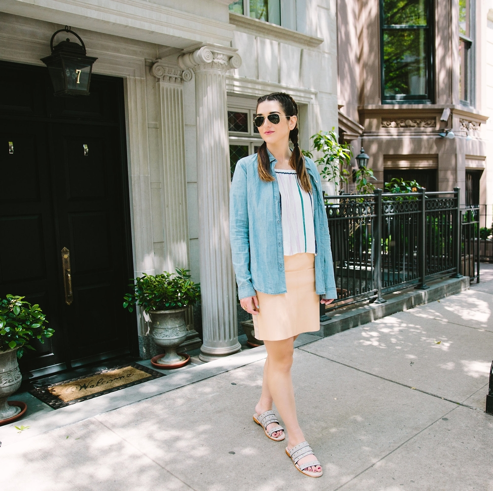 Stripes and Sandals M4D3 Shoes Louboutins & Love Fashion Blog Esther Santer NYC Street Style Blogger OOTD Outfit Shopping Sunglasses RayBan Aviators Jean Shirt Pink Pleather Skirt New York City Photoshoot Summer Look Girl Women Pretty Colorful Model.jpg