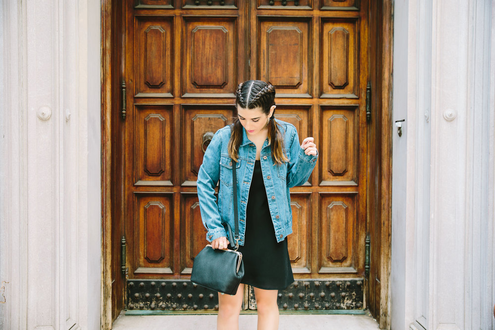 JoJo Work Bag JEMMA Louboutins & Love Fashion Blog Esther Santer NYC Street Style Blogger Outfit OOTD Denim Jean Jacket Forever 21 Nordstrom Booties Black Slip Dress Braids Hair Inspo Goals Girls Women Shop Purse Summer Wear New York City Photoshoot.jpg