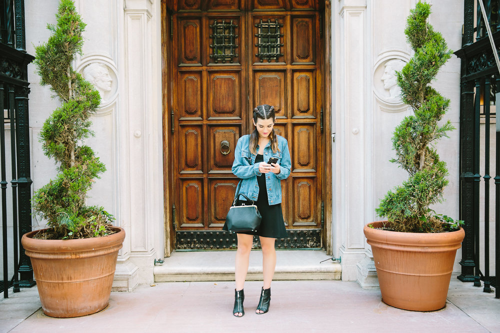 JoJo Work Bag JEMMA Louboutins & Love Fashion Blog Esther Santer NYC Street Style Blogger Outfit OOTD Denim Jean Jacket Forever 21 Nordstrom Booties Black Slip Dress Braids Hair Inspo Goals Women Girls Shop Purse Summer Wear New York City Photoshoot.jpg