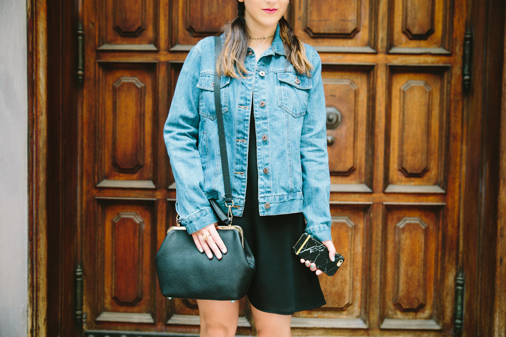 JoJo Work Bag JEMMA Louboutins & Love Fashion Blog Esther Santer NYC Street Style Blogger Outfit OOTD Denim Jean Jacket Forever 21 Nordstrom Booties Black Slip Dress Braids Hair Inspo Goals Women Girls Shop Purse Wear Summer New York City Photoshoot.jpg