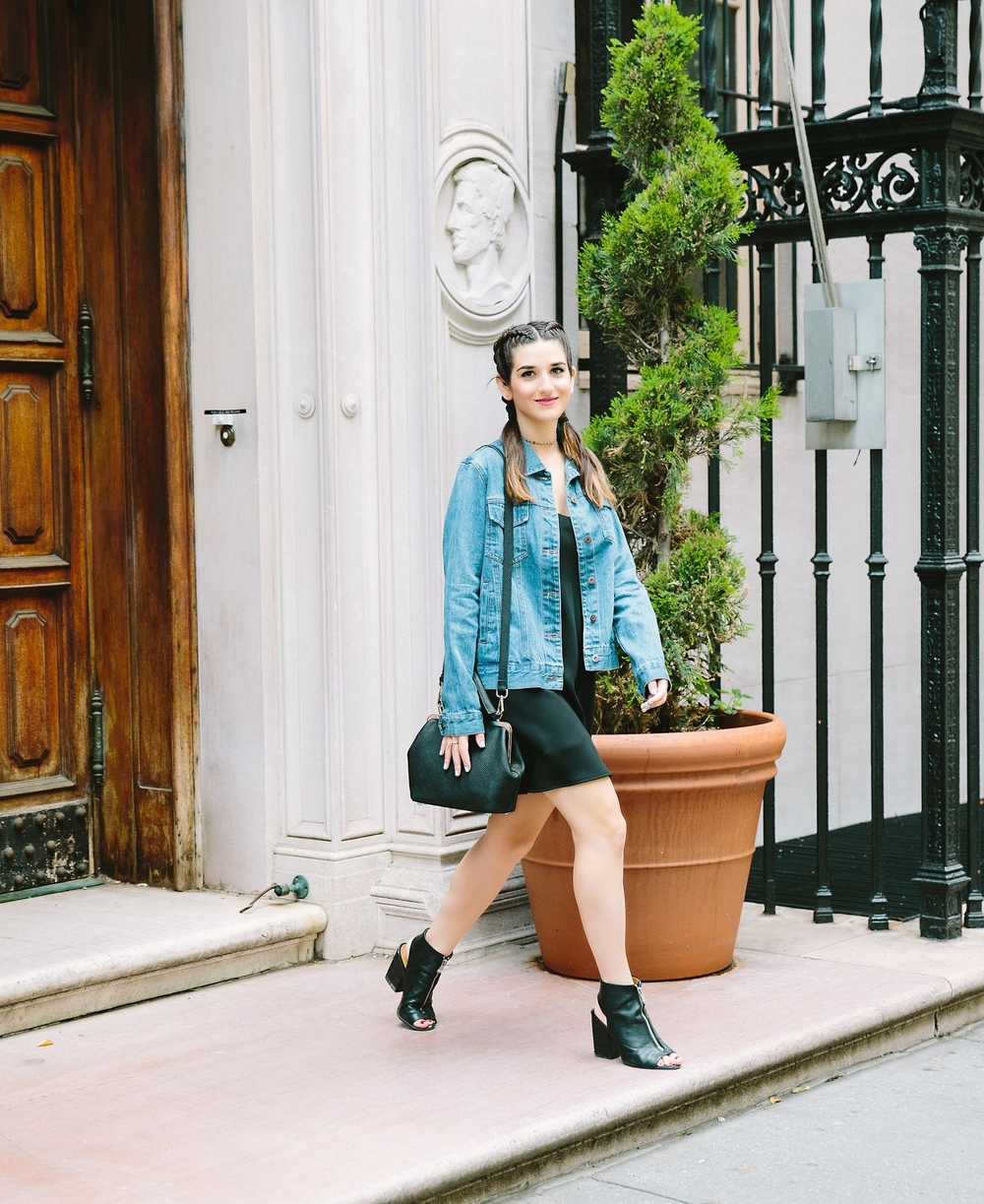 JoJo Work Bag JEMMA Louboutins & Love Fashion Blog Esther Santer NYC Street Style Blogger Outfit OOTD Denim Jean Jacket Forever 21 Nordstrom Booties Black Slip Dress Braids Hair Inspo Goals Women Girls Shop Summer Wear Purse New York City Photoshoot.jpg