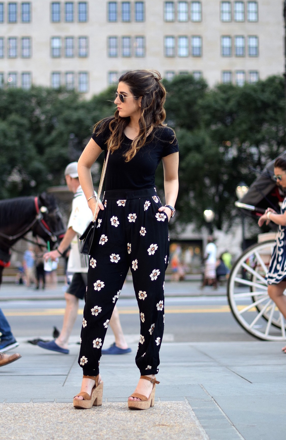 The Perfect Tee Onno T-Shirts Louboutins & Love Fashion Blog Esther Santer NYC Street Style Blogger Outfit OOTD Black Daisy Pants Zara Monochrome Basics Cork Wedges Dolce Vita Hair Inspo Watch Floral Purse Girls Women Shoes Ivanka Trump Spring Summer.jpg