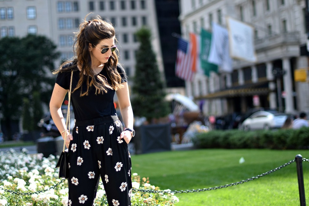 The Perfect Tee Onno T-Shirts Louboutins & Love Fashion Blog Esther Santer NYC Street Style Blogger Outfit OOTD Black Daisy Pants Zara Monochrome Basics Cork Wedges Dolce Vita Hair Inspo Watch Floral Purse Girls Women Ivanka Trump Spring Summer Shoes.jpg