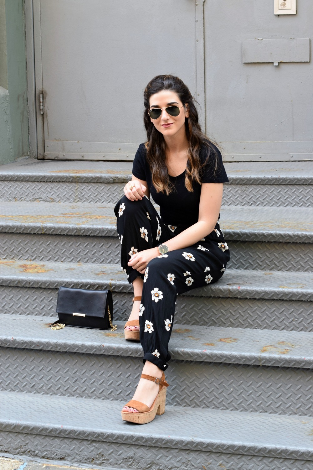 The Perfect Tee Onno T-Shirts Louboutins & Love Fashion Blog Esther Santer NYC Street Style Blogger Outfit OOTD Black Daisy Pants Zara Monochrome Basics Cork Wedges Dolce Vita Hair Inspo Watch Floral Purse Ivanka Trump Summer Spring Women Girls Shoes.jpg