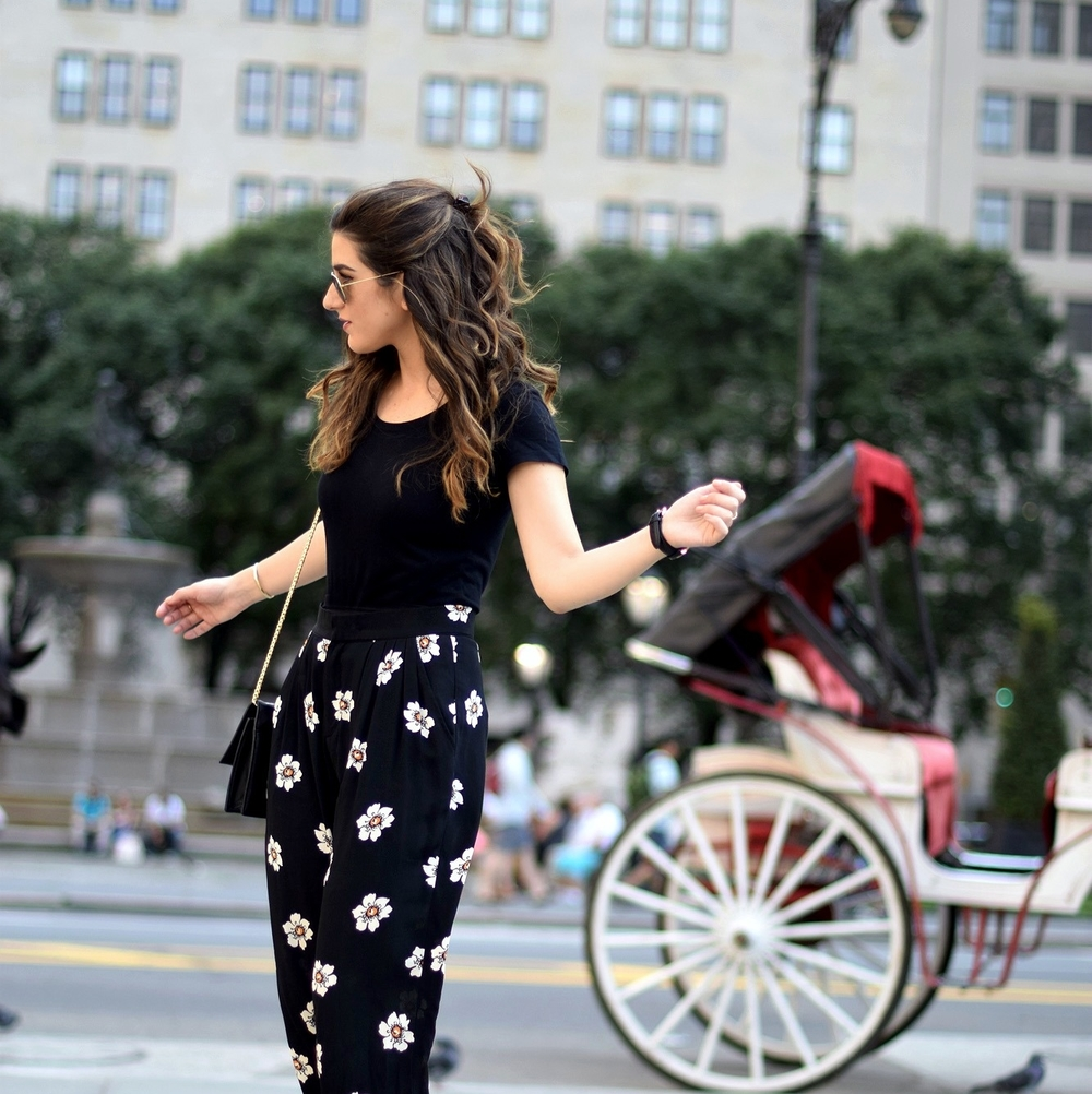 The Perfect Tee Onno T-Shirts Louboutins & Love Fashion Blog Esther Santer NYC Street Style Blogger Outfit OOTD Black Daisy Pants Zara Monochrome Basics Cork Wedges Dolce Vita Hair Inspo Watch Floral Purse Ivanka Trump Spring Summer Women Girls Shoes.jpg