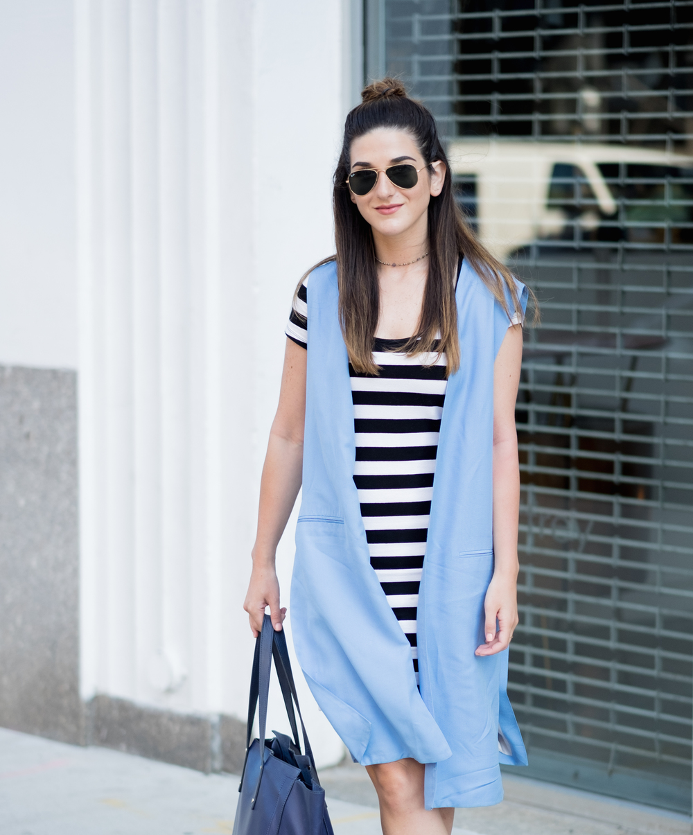 Striped Dress Long Light Blue Vest Louboutins & Love Fashion Blog Esther Santer NYC Street Style Blogger Outfit OOTD Topknot Hair Inspo Girl Women Wedges Dolce Vita Bag Ivanka Trump Soho Tote Aviator Ray-Ban Sunglasses Choker Trendy Summer Photoshoot.jpg