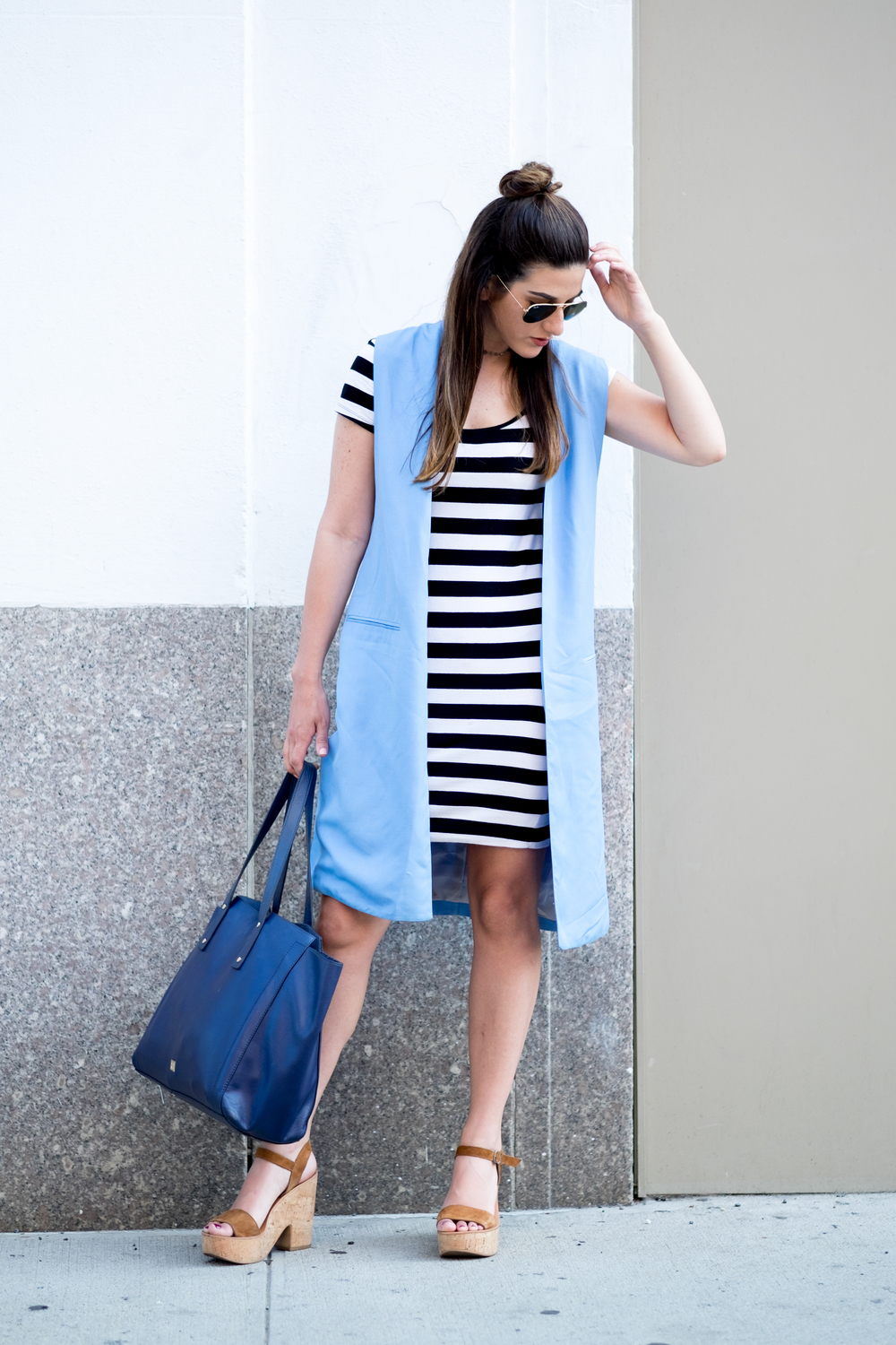 Striped Dress Long Light Blue Vest Louboutins & Love Fashion Blog Esther Santer NYC Street Style Blogger Outfit OOTD Topknot Hair Inspo Girl Women Wedges Dolce Vita Bag Ivanka Trump Soho Tote Aviator Ray-Ban Sunglasses Photoshoot Choker Trendy Summer.jpg