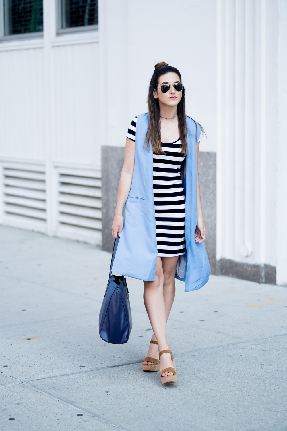 Striped Dress Long Light Blue Vest Louboutins & Love Fashion Blog Esther Santer NYC Street Style Blogger Outfit OOTD Topknot Hair Inspo Girl Women Wedges Dolce Vita Bag Ivanka Trump Soho Tote Aviator Ray-Ban Sunglasses Trendy Choker Photoshoot Summer.jpg