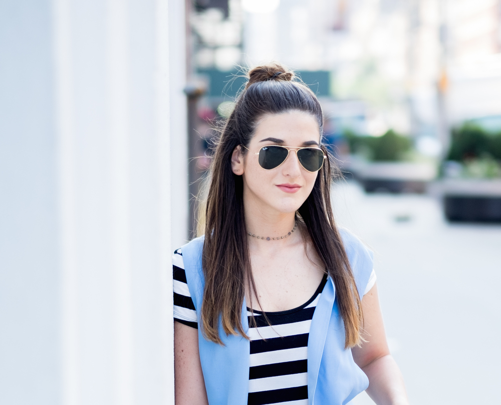Striped Dress Long Light Blue Vest Louboutins & Love Fashion Blog Esther Santer NYC Street Style Blogger Outfit OOTD Topknot Hair Inspo Girl Women Wedges Dolce Vita Bag Ivanka Trump Soho Tote Aviator Ray-Ban Sunglasses Trendy Choker Summer Photoshoot.jpg