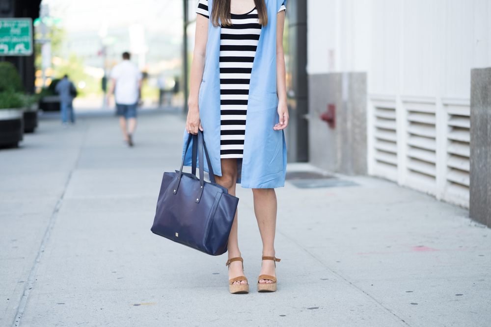 Striped Dress Long Light Blue Vest Louboutins & Love Fashion Blog Esther Santer NYC Street Style Blogger Outfit OOTD Topknot Hair Inspo Girl Women Wedges Dolce Vita Ivanka Trump Bag Soho Tote Aviator Ray-Ban Sunglasses Trendy Choker Photoshoot Summer.jpg