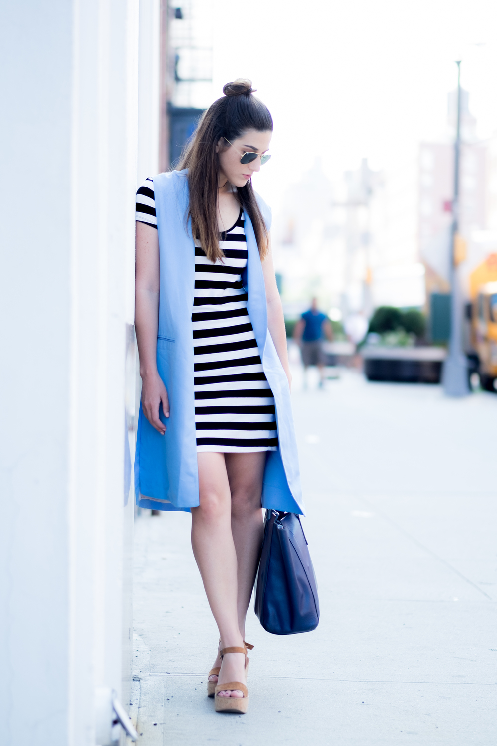 Striped Dress Long Light Blue Vest Louboutins & Love Fashion Blog Esther Santer NYC Street Style Blogger Outfit OOTD Topknot Hair Inspo Girl Women Wedges Dolce Vita Ivanka Trump Bag Soho Tote Aviator Ray-Ban Sunglasses Choker Trendy Summer Photoshoot.jpg
