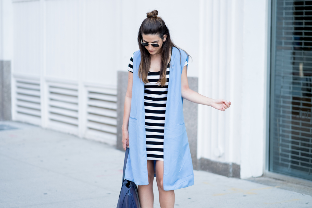 Striped Dress Long Light Blue Vest Louboutins & Love Fashion Blog Esther Santer NYC Street Style Blogger Outfit OOTD Topknot Hair Inspo Girl Women Wedges Dolce Vita Ivanka Trump Bag Soho Tote Aviator Ray-Ban Sunglasses Trendy Choker Summer Photoshoot.jpg
