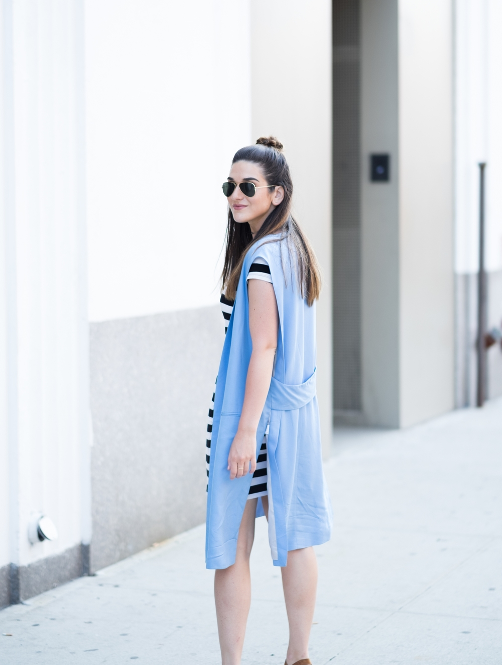Striped Dress Long Light Blue Vest Louboutins & Love Fashion Blog Esther Santer NYC Street Style Blogger Outfit OOTD Topknot Hair Inspo Girl Women Wedges Dolce Vita Ivanka Trump Soho Tote Aviator Ray-Ban Sunglasses Choker Trend Summer Look Photoshoot.jpg