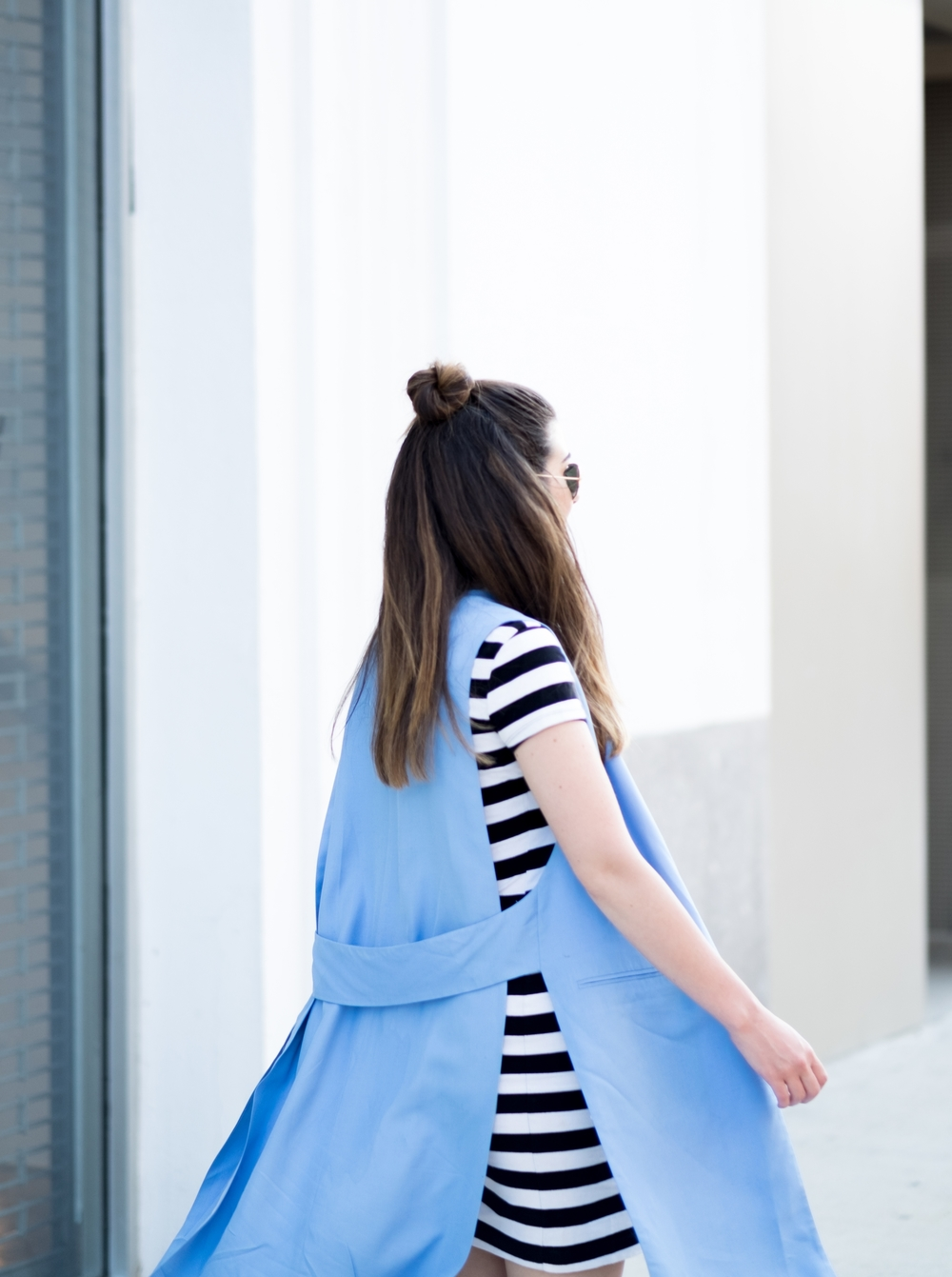 Striped Dress Long Light Blue Vest Louboutins & Love Fashion Blog Esther Santer NYC Street Style Blogger Outfit OOTD Topknot Hair Inspo Girl Women Wedges Dolce Vita Bag Ivanka Trump Soho Tote Aviator Ray-Ban Sunglasses Choker Summer Trendy Photoshoot.jpg