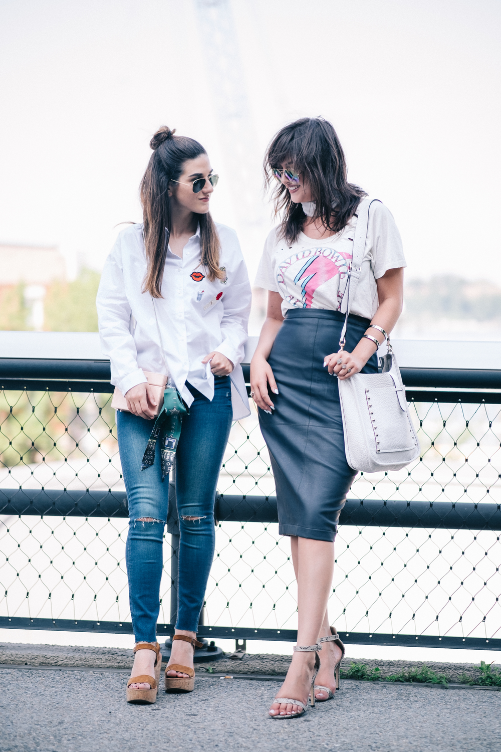 Photoshoot Collab With Lexicon Of Style How To Make Blogger Friends Louboutins & Love Fashion Blog Esther Santer NYC Street Style Blogger Outfit OOTD Trendy Oversized White Dress Shirt Patches Ripped Jeans Denim Zara Scarf Heels Wedges Bag Sunglasses.jpg