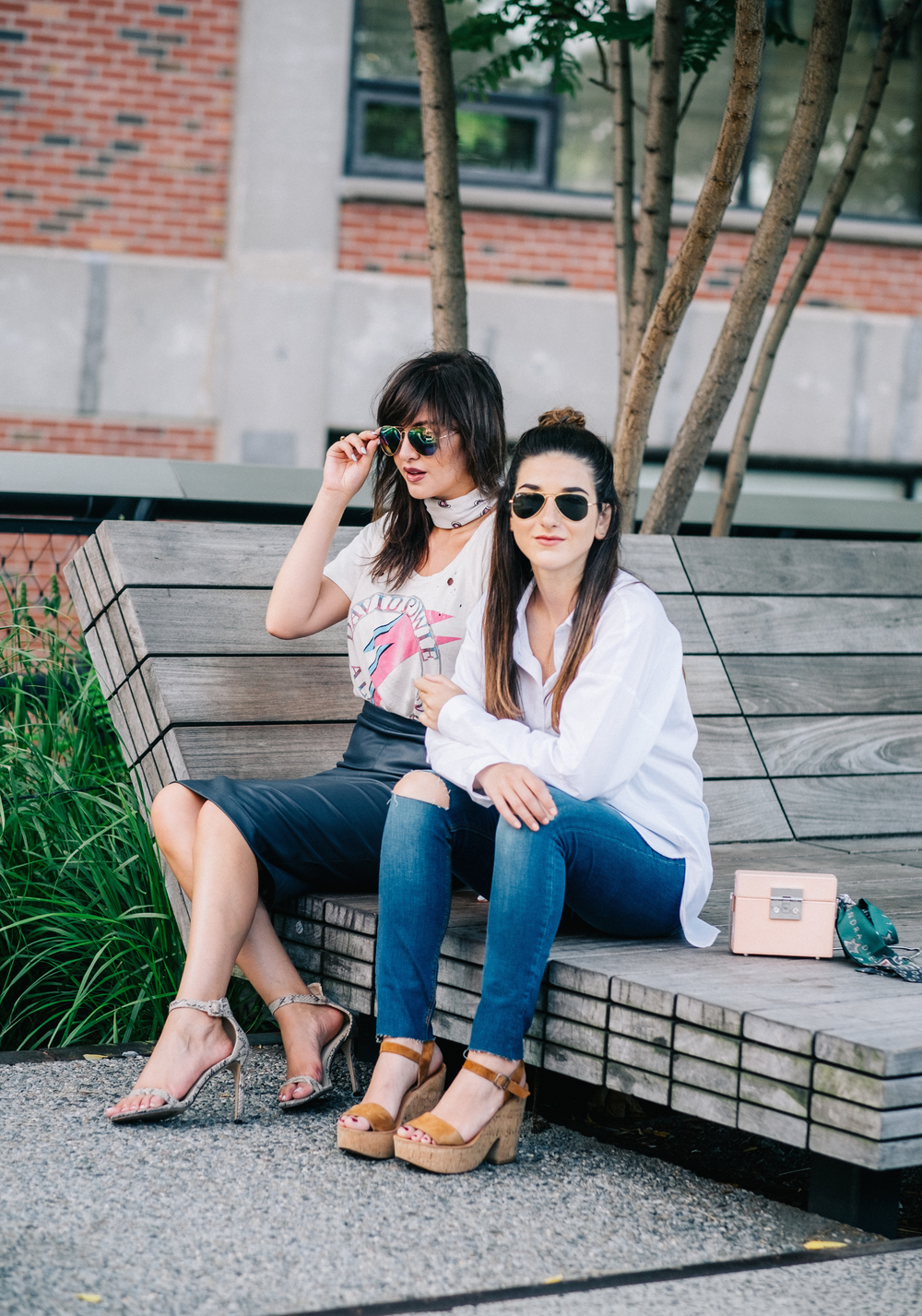 Photoshoot Collab With Lexicon Of Style How To Make Blogger Friends Louboutins & Love Fashion Blog Esther Santer NYC Street Style Blogger Outfit OOTD Trendy Oversized White Dress Shirt Patches Ripped Jeans Denim Zara Scarf Heels Wedges Sunglasses Bag.jpg