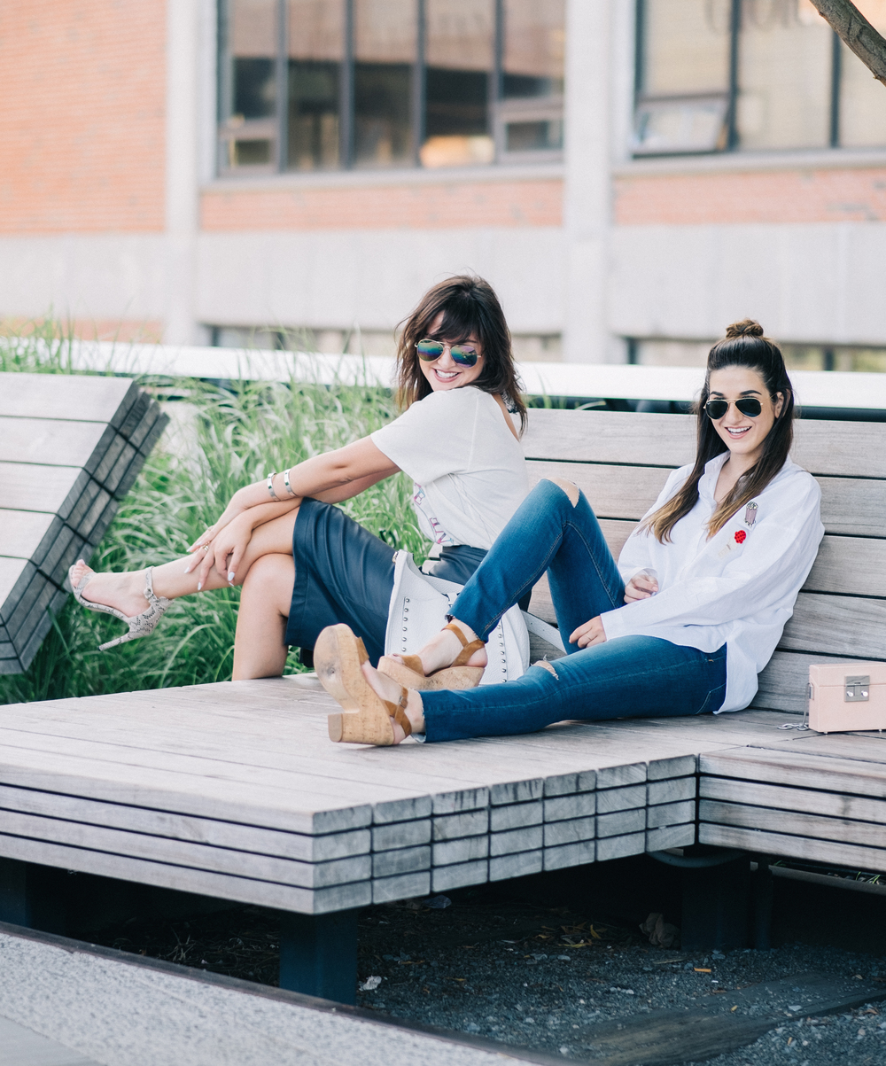 Photoshoot Collab With Lexicon Of Style How To Make Blogger Friends Louboutins & Love Fashion Blog Esther Santer NYC Street Style Blogger Outfit OOTD Trendy Oversized White Dress Shirt Patches Ripped Denim Jeans Scarf Wedges Zara Heels Sunglasses Bag.jpg