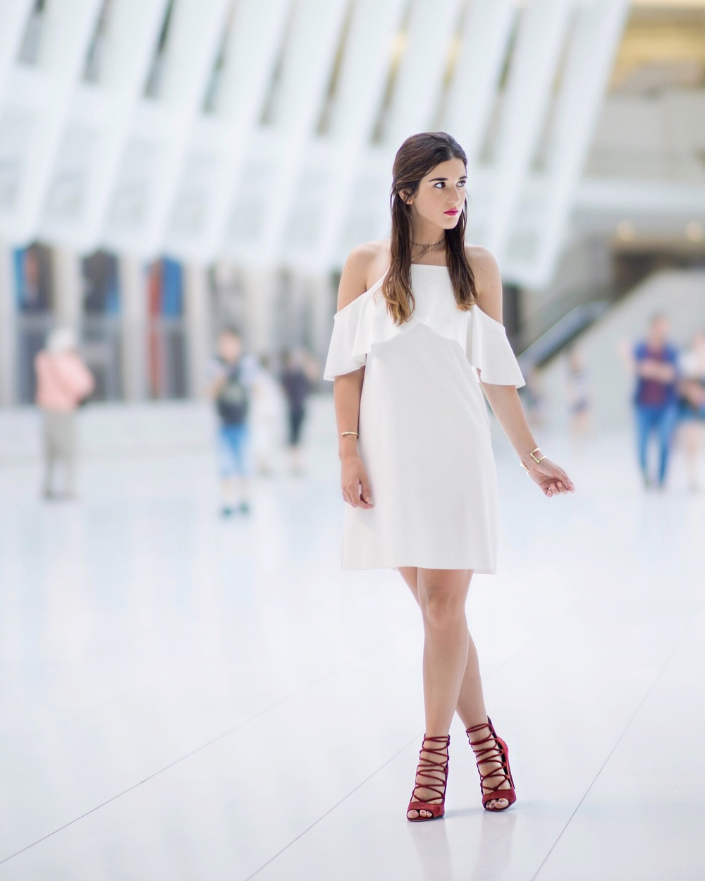 Cold Shoulder White Dress Red Heels Louboutins & Love Fashion Blog Esther Santer NYC Street Style Blogger Outfit OOTD Trendy French Connection Zara Beaded Chokers Jewelry Bloomingdale's Girl Women Shoes Hair Inspo Gold Bracelet Pretty Color Photoshoot.jpg