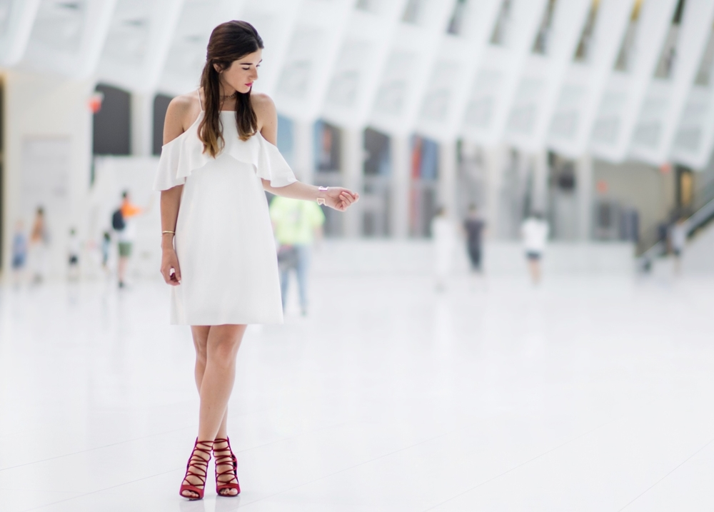 Cold Shoulder White Dress Red Heels Louboutins & Love Fashion Blog Esther Santer NYC Street Style Blogger Outfit OOTD Trendy French Connection Zara Beaded Chokers Jewelry Bloomingdale's Girl Women Hair Inspo Gold Bracelet Pretty Shoes Color Photoshoot.jpg