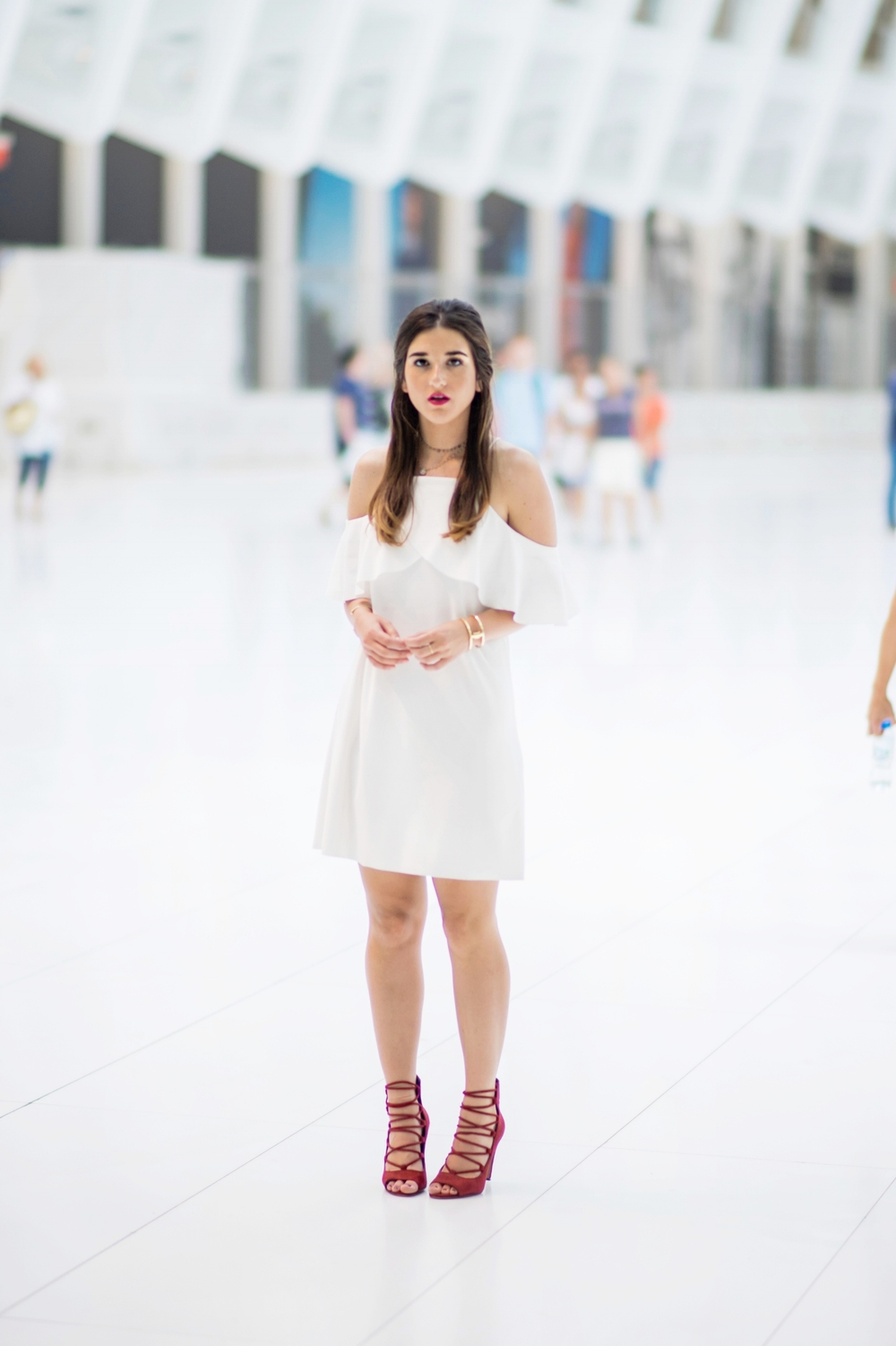 Cold Shoulder White Dress Red Heels Louboutins & Love Fashion Blog Esther Santer NYC Street Style Blogger Outfit OOTD Trendy French Connection Zara Beaded Chokers Jewelry Bloomingdale's Girl Women Shoes Hair Pretty Inspo Gold Bracelet Color Photoshoot.jpg