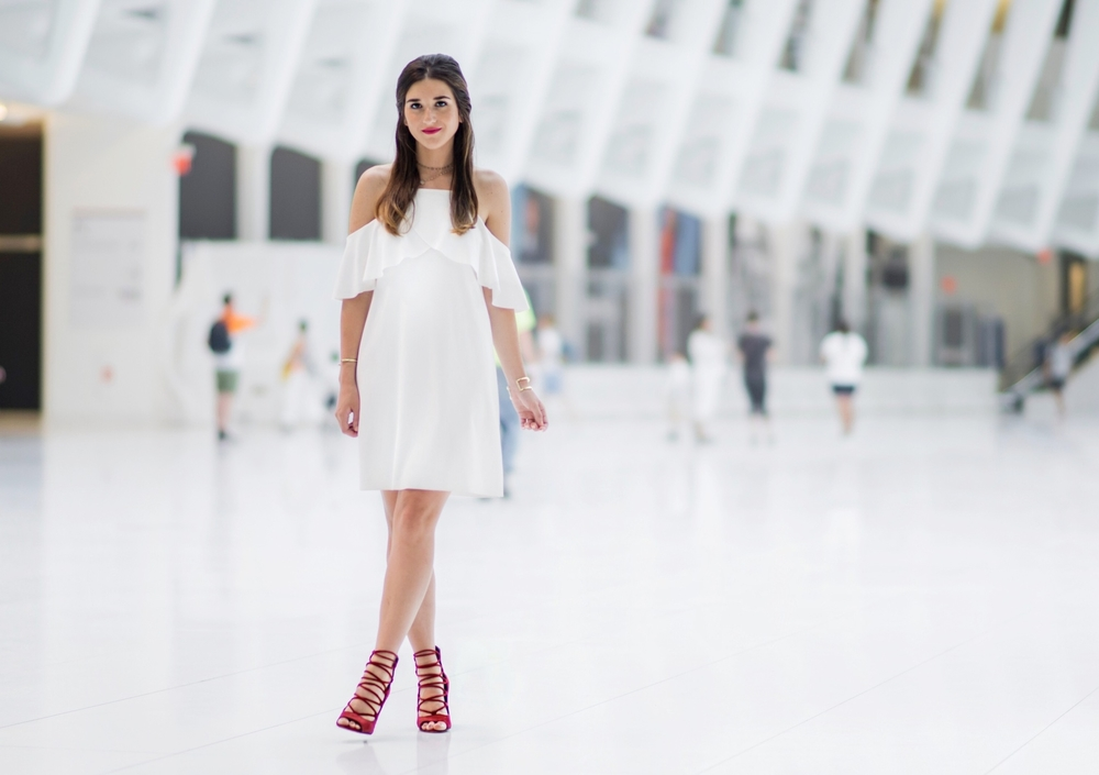 Cold Shoulder White Dress Red Heels Louboutins & Love Fashion Blog Esther Santer NYC Street Style Blogger Outfit OOTD Trendy French Connection Zara Beaded Chokers Jewelry Bloomingdale's Girl Women Shoes Pretty Gold Bracelet Hair Inspo Photoshoot Color.jpg