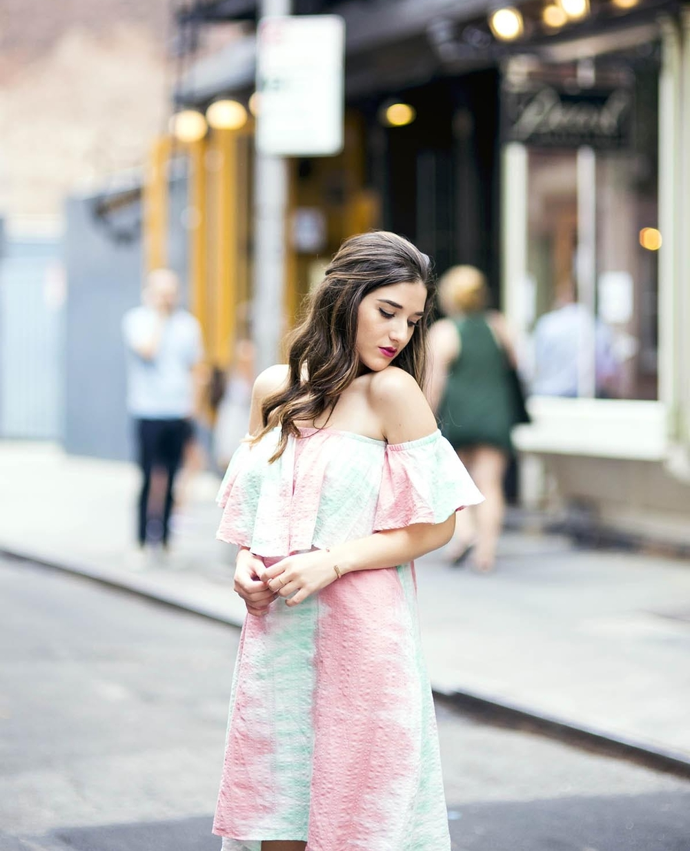 Pastel Tie-Dye Dress Shop Trescool Louboutins & Love Fashion Blog Esther Santer NYC Street Style Blogger Outfit OOTD Trendy Cold Shoulders Blue Black Women Girl Hair Curly Brown Green Pink Red Lip Makeup Heels Lace Up Gray Fashion Lady Bracelet Choker.jpg
