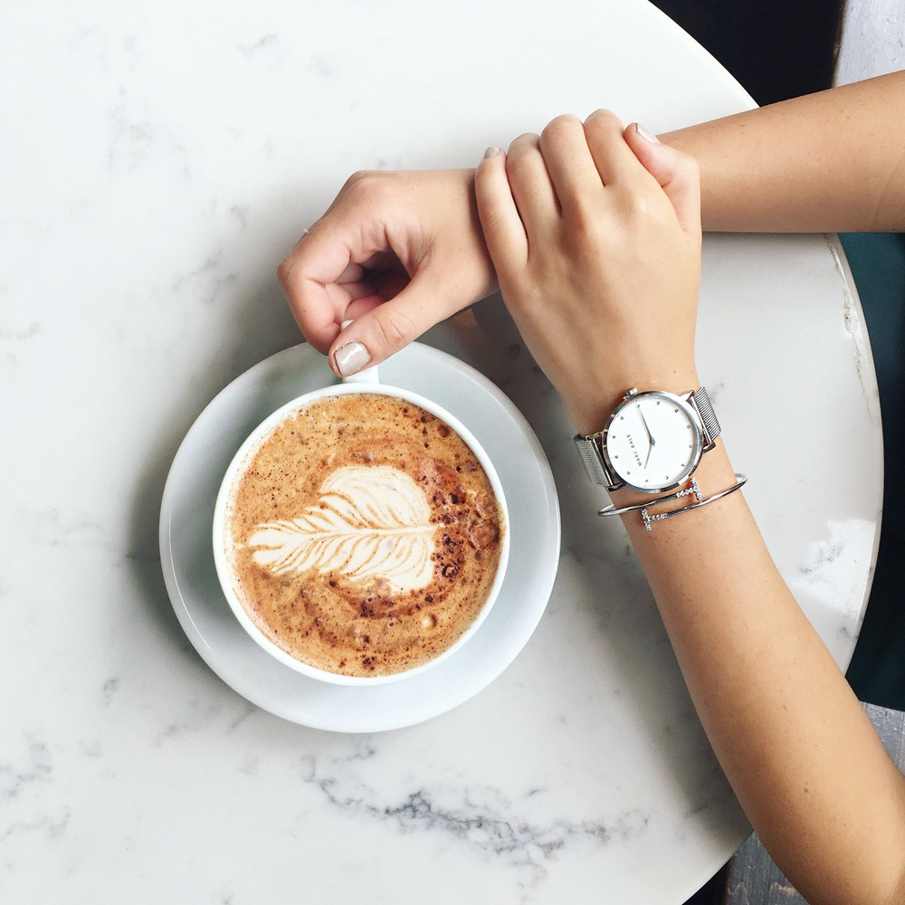 Mornings with Marc Bale Watches Louboutins & Love Fashion Blog Esther Santer NYC Street Style Blogger Trendy Silver Jewerly Peach Box Bracelet Bangle Coffee Latte Art Marble Flatlay Artsy Photography Beautiful Pretty Mug Online Shipping Girl Women Buy.JPG