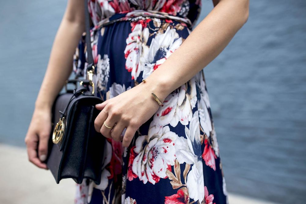 Long Floral Wrap Dress West Kei Louboutins & Love Fashion Blog Esther Santer NYC Street Style Blogger Outfit OOTD Trendy Henri Bendel Amare Jewels Ivanka Trump Black Klover Sandals Floral Woman Chic Red Lip Pink Hair Brown Wavey Purple Dress .jpg