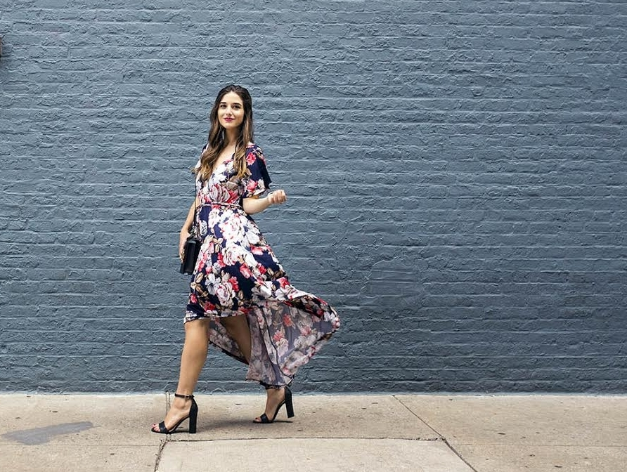 Long Floral Wrap Dress West Kei Louboutins & Love Fashion Blog Esther Santer NYC Street Style Blogger Outfit OOTD Trendy Henri Bendel Amare Jewels Ivanka Trump Black Klover Floral Sandals Dress Chic Woman Red Lip Pink Hair Brown Wavey Purple Dress .jpg